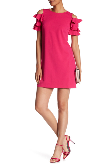 Imbracaminte Femei London Times Solid Crepe Scuba Ruffle Cold Shoulder Sleeve Dress PINK