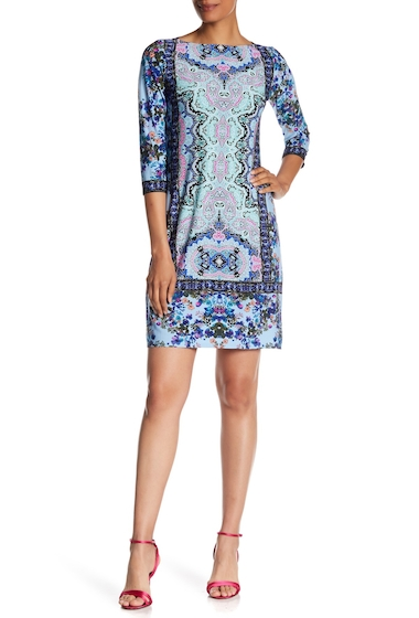 Imbracaminte Femei London Times Printed Flower Spray Shift Dress BLUE MULTI