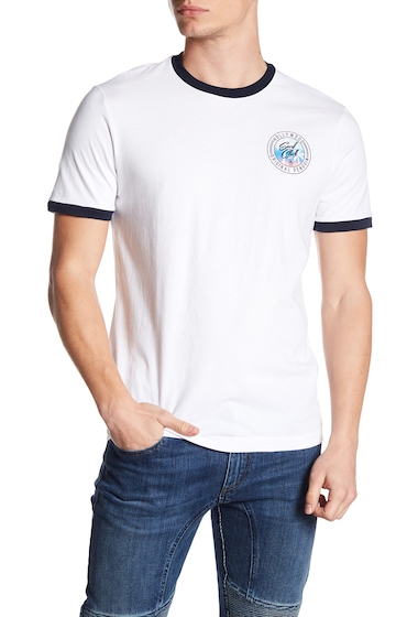 Imbracaminte Barbati Original Penguin Hollywood Surf Club Ringer Tee BRIGHT WHITE