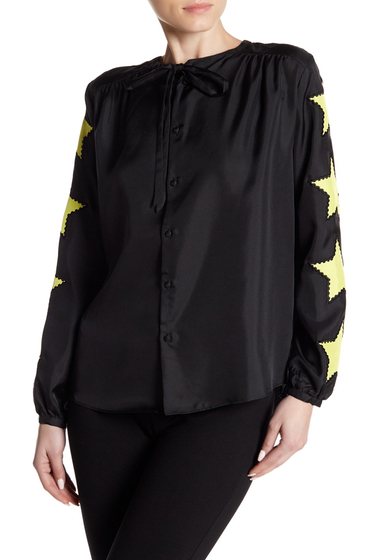 Imbracaminte Femei Cynthia Rowley Star Sleeve Silk Blouse BLACK