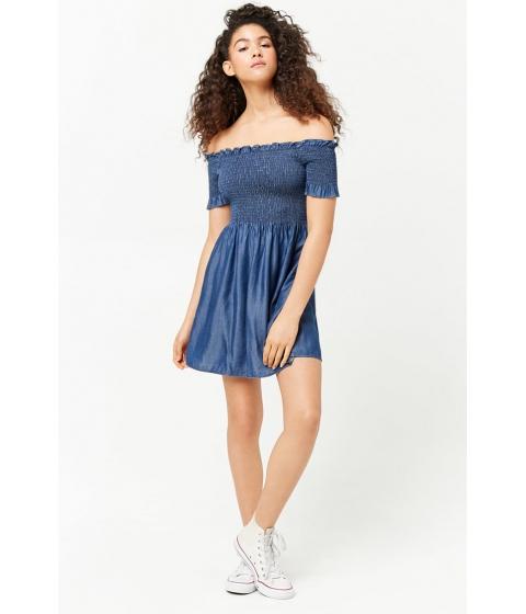 Imbracaminte Femei Forever21 Smocked Off-the-Shoulder Dress DARK DENIM