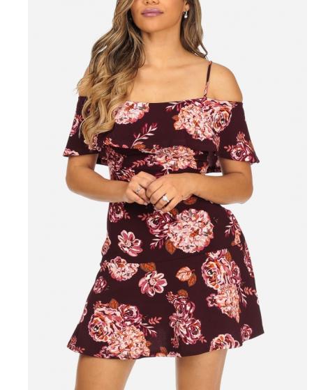 Imbracaminte Femei CheapChic Burgundy Cold Shoulder Short Sleeve Floral Print Above Knee Dress Multicolor