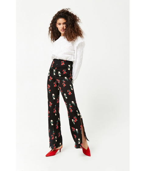 Imbracaminte Femei Forever21 Floral Flare Pants BLACKRED