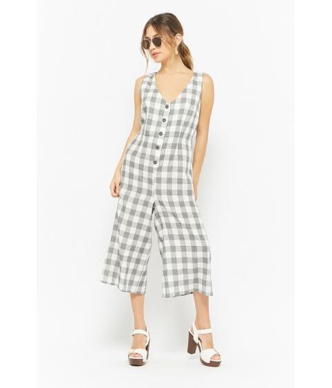 Imbracaminte Femei Forever21 Plaid Button-Front Culotte Jumpsuit GREYCREAM