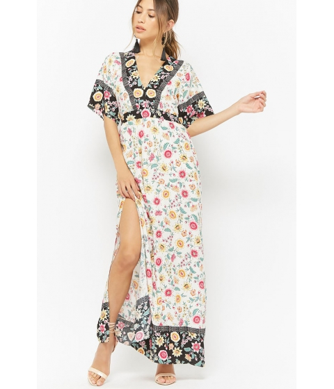 Imbracaminte Femei Forever21 Floral V-Neck Contrast Maxi Dress CREAMPINK
