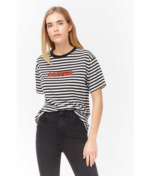 Imbracaminte Femei Forever21 Striped Amour Graphic Tee WHITERED