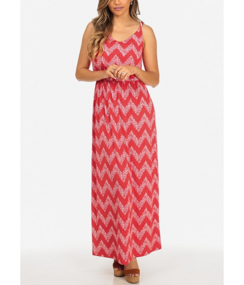 Imbracaminte Femei CheapChic Stylish Red and White Sleeveless Zig Zag Print Stretchy Maxi Dress Multicolor