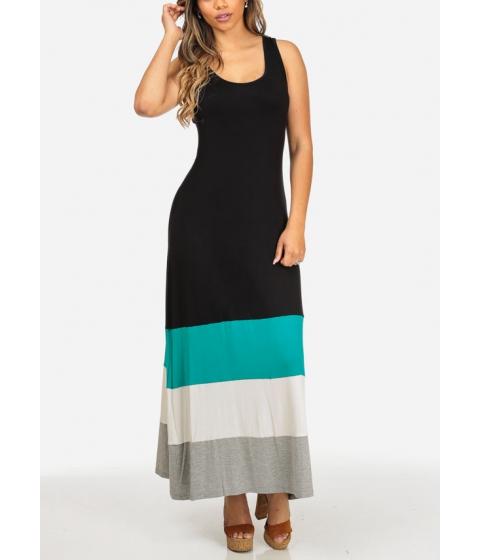 Imbracaminte Femei CheapChic Stylish Black Sleeveless Open Back Cute Multicolor Hem Maxi Dress Multicolor