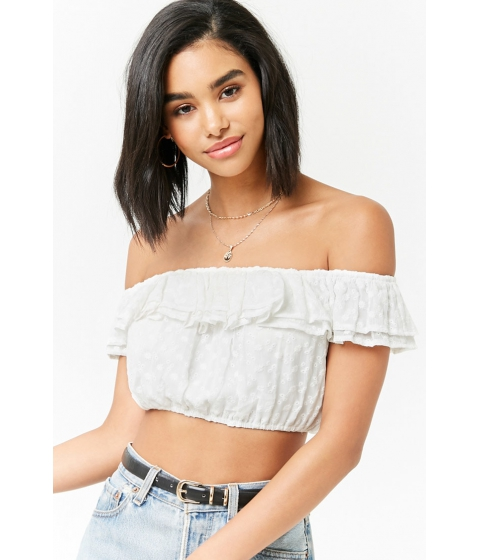 Imbracaminte Femei Forever21 Ruffle Off-the-Shoulder Crop Top CREAM