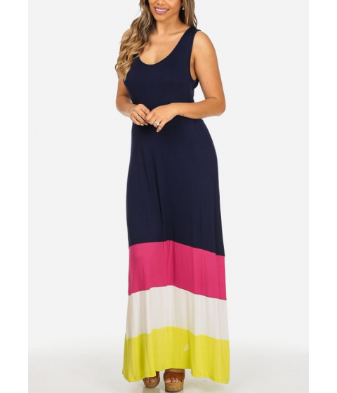 Imbracaminte Femei CheapChic Stylish Navy Sleeveless Open Back Cute Multicolor Hem Maxi Dress Multicolor