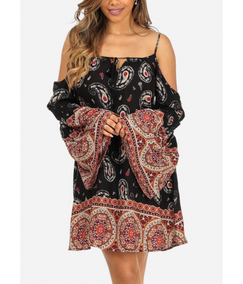 Imbracaminte Femei CheapChic Lightweight Black Cold Shoulder Long Angel Sleeve Paisley Print Dress Multicolor