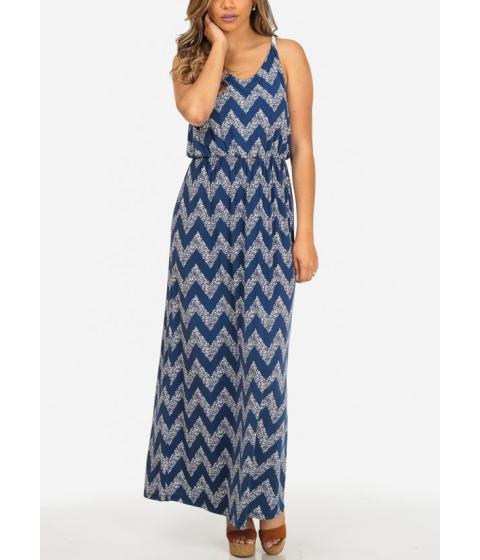 Imbracaminte Femei CheapChic Stylish Blue and White Sleeveless Zig Zag Print Stretchy Maxi Dress Multicolor