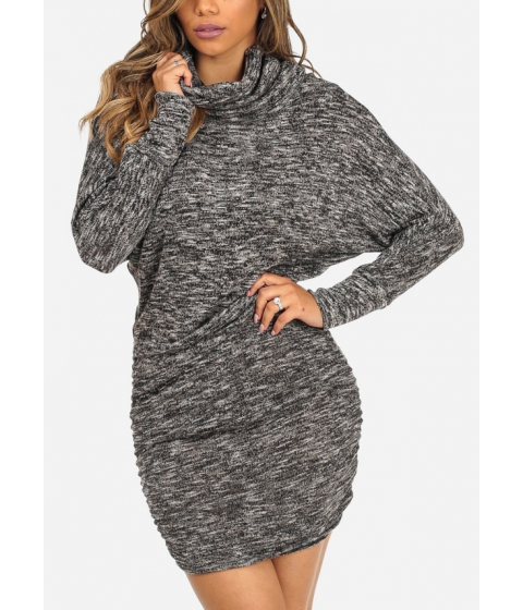 Imbracaminte Femei CheapChic Long Sleeve Cowl Neckline Ruched Sides Charcoal Above Knee Dress Multicolor