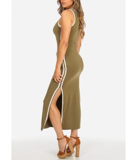 Imbracaminte Femei CheapChic Stylish Sleeveless Olive Round Neck Stretchy Side Slits Maxi Dress Multicolor