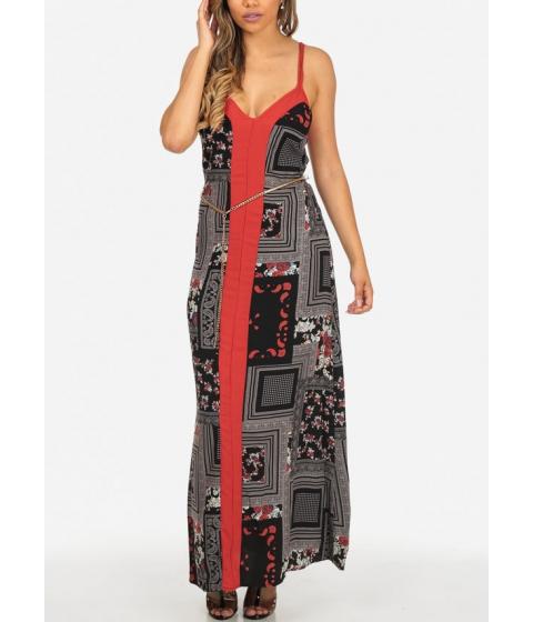 Imbracaminte Femei CheapChic Lightweight Two-Tone Spaghetti Strap Maxi Dress with Belt Included Multicolor