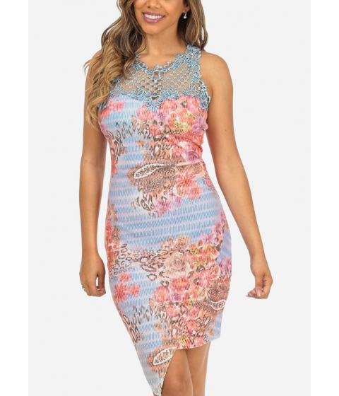 Imbracaminte Femei CheapChic Blue Sleeveless Floral Print Crochet Details Asymmetrical Hem Dress Multicolor