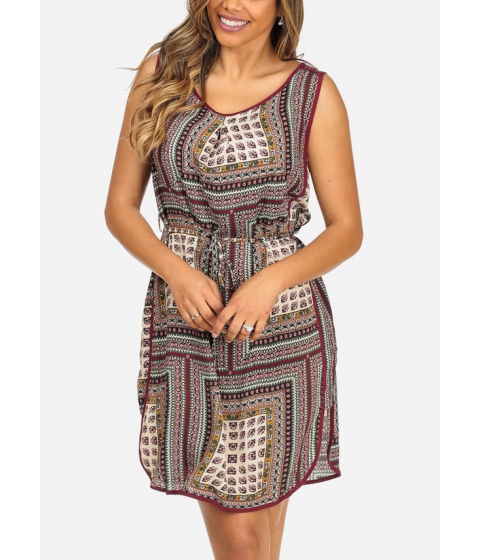 Imbracaminte Femei CheapChic Burgundy Sleeveless Printed Side Slits Lightweight Above Knee Dress Multicolor
