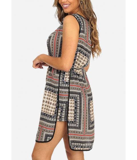 Imbracaminte Femei CheapChic Black Sleeveless Printed Side Slits Lightweight Above Knee Dress Multicolor