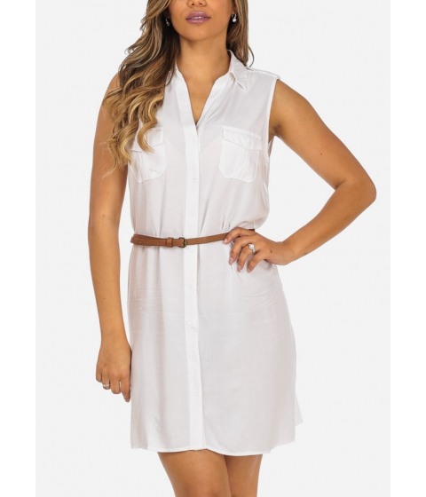 Imbracaminte Femei CheapChic Stylish Button Up White Sleeveless 2-Pocket Dress with Belt Included Multicolor