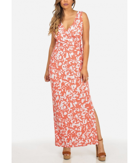 Imbracaminte Femei CheapChic Coral and White Printed Sleeveless Wrap Front Side Slits Maxi Dress Multicolor
