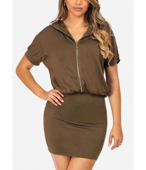 Imbracaminte Femei CheapChic Stylish Olive Short Sleeve Silver Zip Up Stretchy Above Knee Dress Multicolor