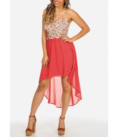 Imbracaminte Femei CheapChic Stylish Coral Floral Print Spaghetti Strap Elastic Waist High Low Dress Multicolor
