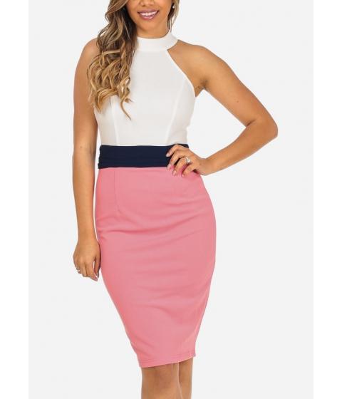 Imbracaminte Femei CheapChic Evening Wear Sleeveless Halter Neckline Bodycon Knee Length Dress Multicolor