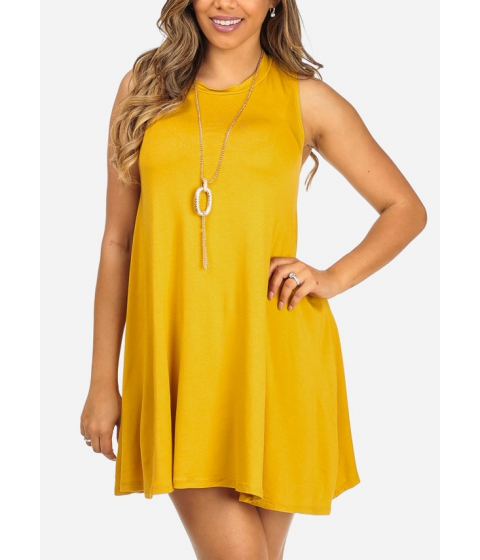 Imbracaminte Femei CheapChic Mustard Sleeveless High Neck Above Knee Dress w Necklace Included Multicolor