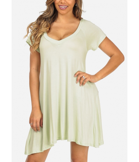 Imbracaminte Femei CheapChic Trendy Short Sleeve Stretchy V-Neck Mint Slip On Above Knee Dress Multicolor
