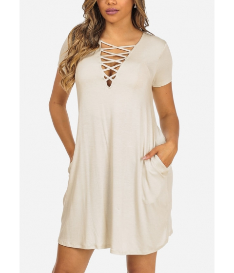 Imbracaminte Femei CheapChic Short Sleeve Cream Color Lace Up V-Neck Stretchy Above Knee Dress Multicolor