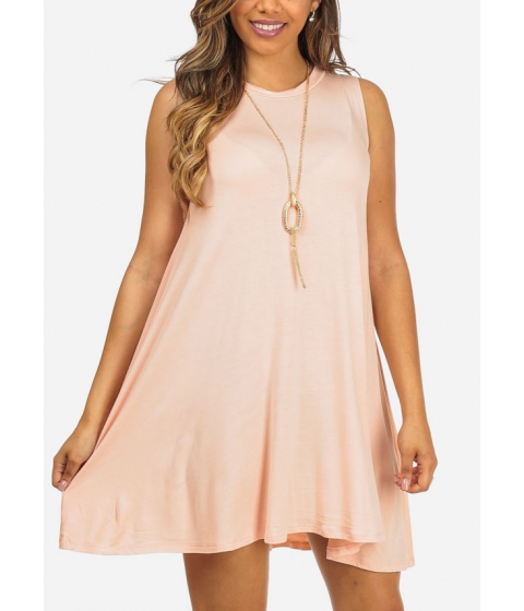 Imbracaminte Femei CheapChic Pink Sleeveless High Neck Above Knee Dress w Necklace Included Multicolor