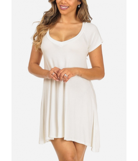 Imbracaminte Femei CheapChic Trendy Short Sleeve Stretchy V-Neck White Slip On Above Knee Dress Multicolor