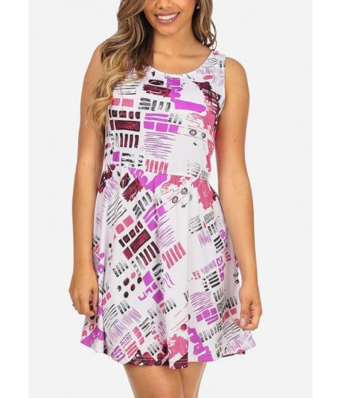 Imbracaminte Femei CheapChic White and Pink Stylish Printed Sleeveless Elastic Waist Slip On Dress Multicolor