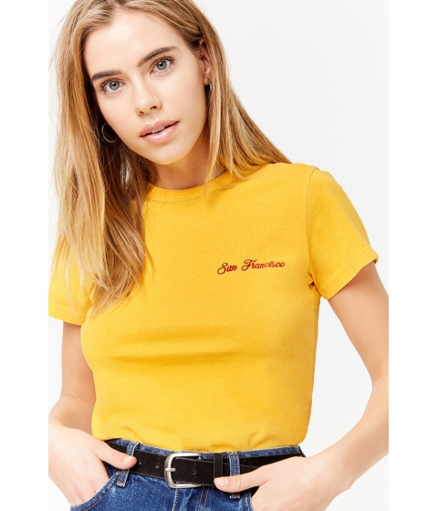 Imbracaminte Femei Forever21 San Francisco Embroidered Tee YELLOWRED