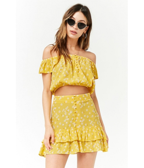 Imbracaminte Femei Forever21 Calla Lily Print High-Low Skirt YELLOWIVORY