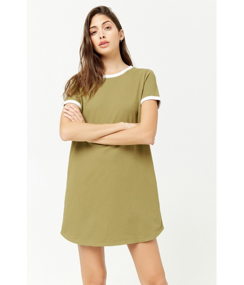 Imbracaminte Femei Forever21 Ringer T-Shirt Dress LIGHT OLIVEWHITE
