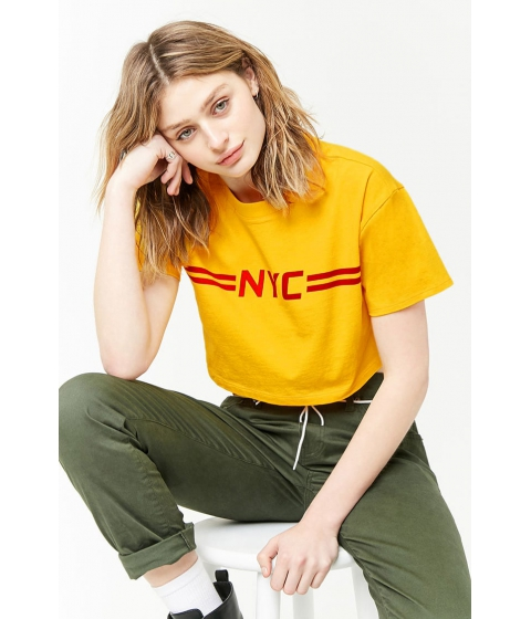 Imbracaminte Femei Forever21 NYC Graphic Cropped Tee YELLOWRED