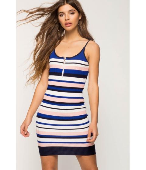 Imbracaminte Femei CheapChic Zip Stripe Knit Bodycon Dress FuchsiaPink Pattern