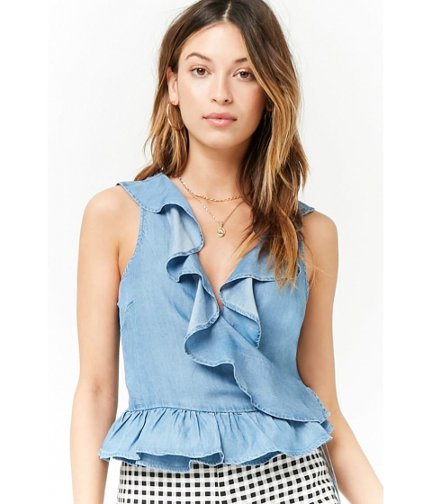 Imbracaminte Femei Forever21 Chambray Flounce Wrap Top DENIM