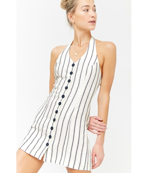 Imbracaminte Femei Forever21 Striped Halter Dress IVORYBLUE