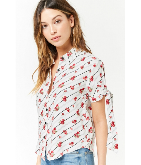 Imbracaminte Femei Forever21 Floral Striped Shirt IVORYMULTI