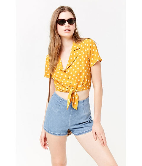 Imbracaminte Femei Forever21 Polka Dot Crepe Shirt MUSTARDIVORY
