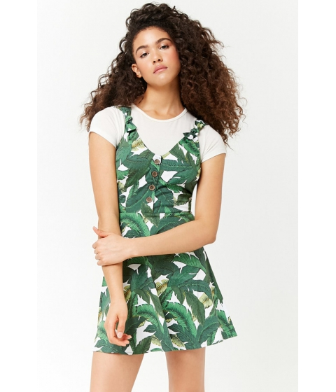 Imbracaminte Femei Forever21 Leaf Print Button-Front Dress GREENWHITE