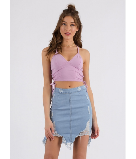 Imbracaminte Femei CheapChic Taking Sides Lace-up Cropped Tank Lavender