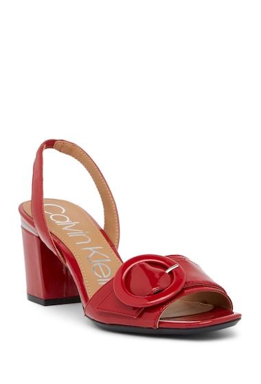 Incaltaminte Femei Calvin Klein Claudia Patent Leather Slingback Sandal CRIMSON RED