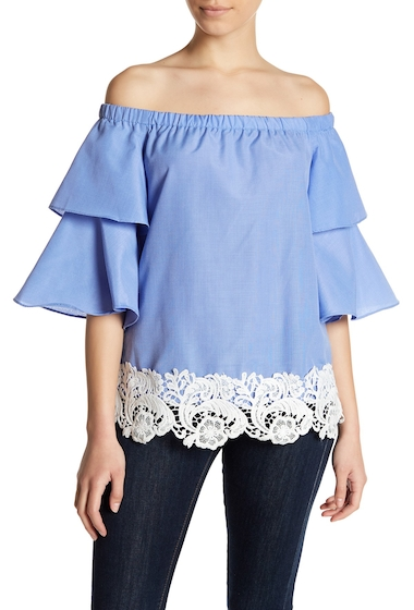 Imbracaminte Femei MELLODAY Flutter Sleeve Crochet Knit Blouse Petite BLUE