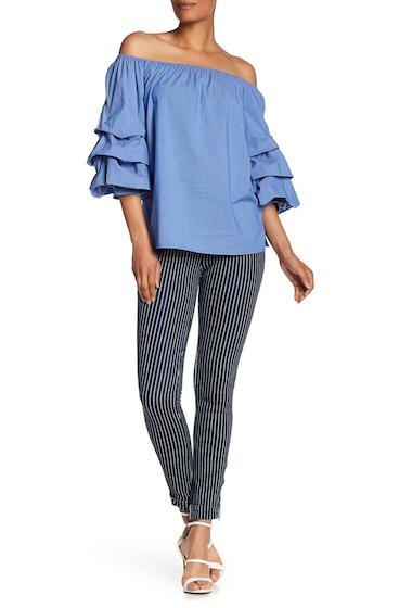 Imbracaminte Femei Philosophy Apparel Pinstripe Leggings DENIM BLUEWHITE STRIPE