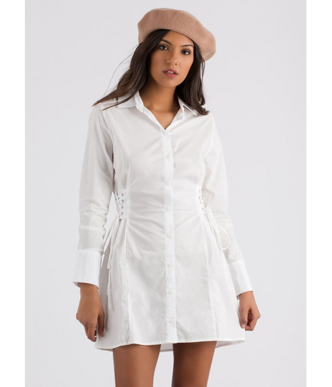 Imbracaminte Femei CheapChic Fit And Flair Lace-up Corset Shirt Dress White