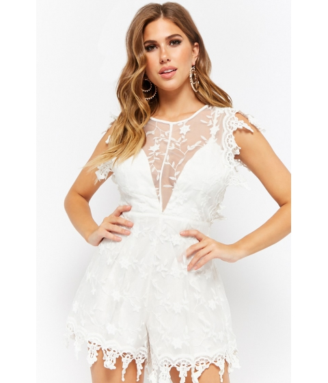 Imbracaminte Femei Forever21 Sheer Mesh Floral Embroidered Romper WHITE