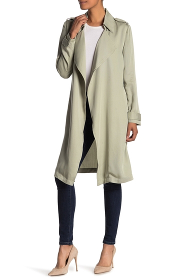 Imbracaminte Femei Bagatelle Leather Notch Lapel Trench Coat SAGE